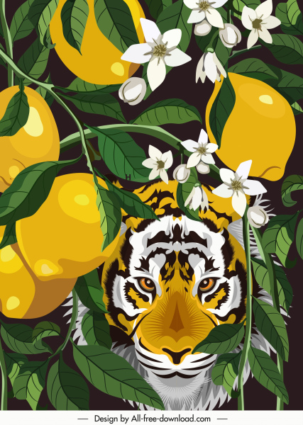 nature painting lemon tree tiger sketch colorful classic