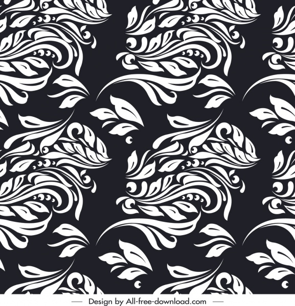 Nature Pattern Black White Classical Leaf Sketch Free Vector In