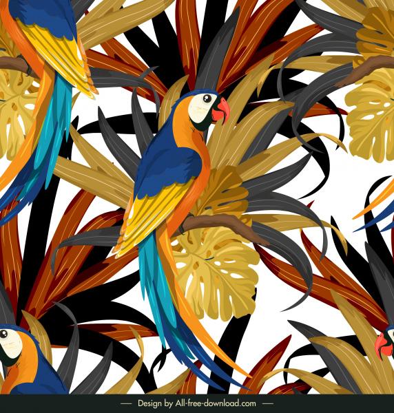 nature pattern colorful parrots leaves decor