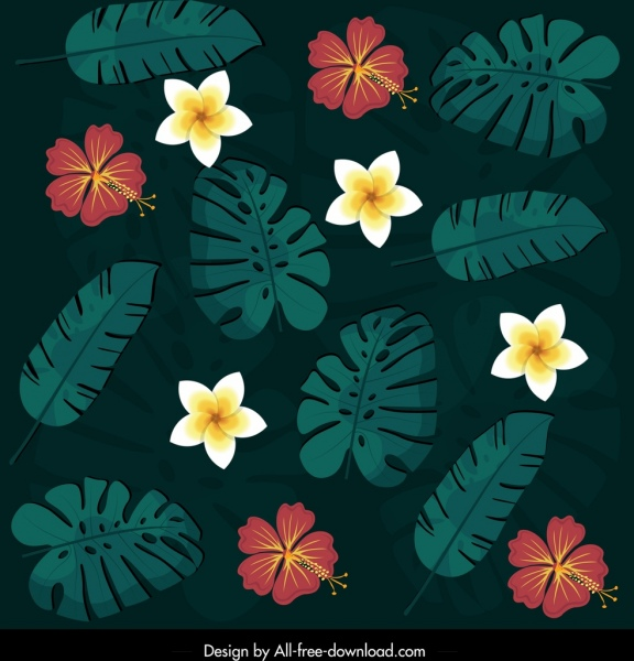nature pattern dark colorful flowers leaves decor