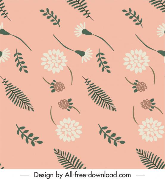 nature pattern flowers leaf sketch classical flat design