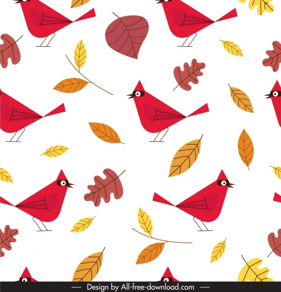 nature pattern leaf birds icons classical flat sketch