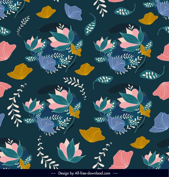 nature pattern template colorful vintage handdrawn sketch