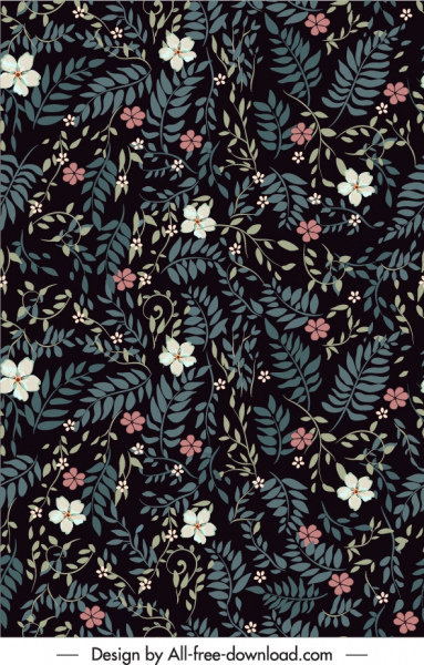 nature pattern template dark classic leaves petals decor