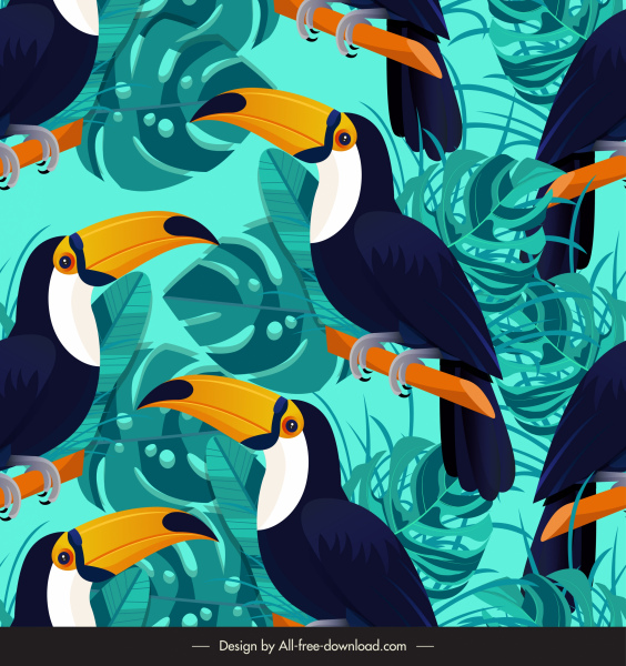 nature pattern template repeating toucan tropical leaves decor