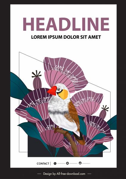 nature poster template bird flowers decor classic design