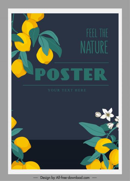 nature poster template lemon tree sketch classic design