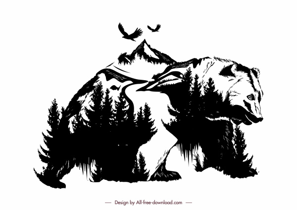 nature preservation background classic bear mountain forest sketch