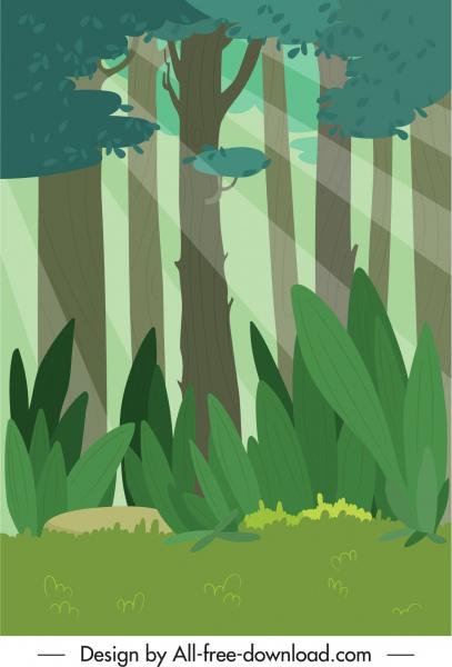 nature scene background colorful classic flat sketch