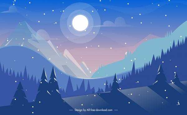 nature scene background moonlight mountain sketch
