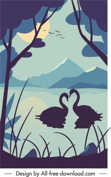 nature scenery painting swans lake sketch dark classic