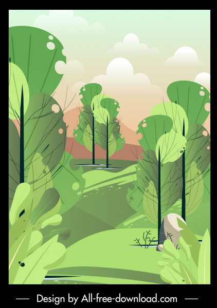 nature scenery painting trees sketch colored retro decor
