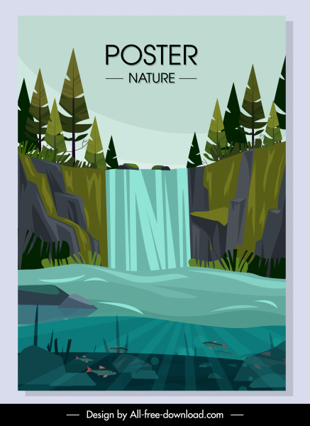 nature scenery poster cascade lake sketch colorful classic