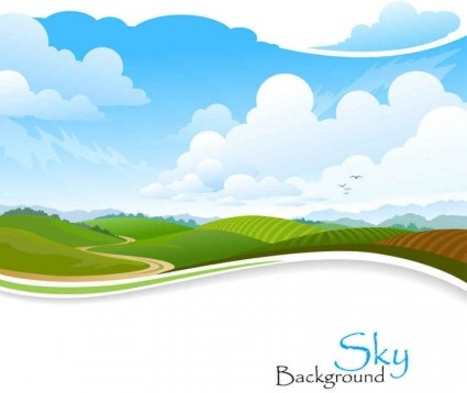 Nature sky scenery vector background Free vector in Encapsulated