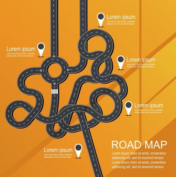 navigation banner twisted road icons flat design