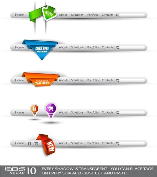 navigation ui web buttons vector