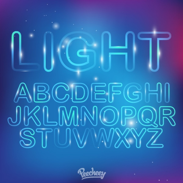 Neon Light Font Free Vector In Adobe Illustrator Ai