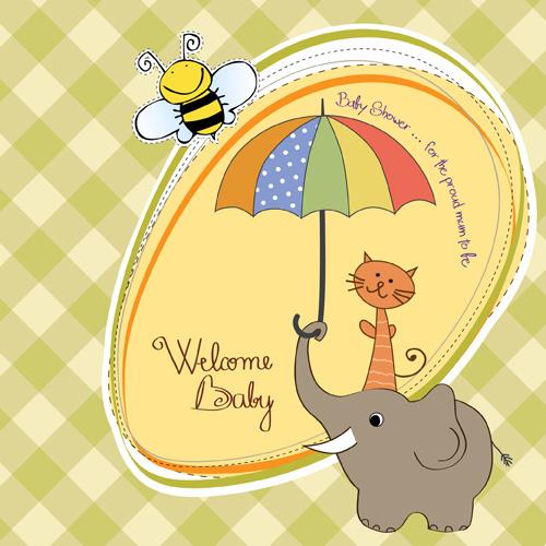 new baby card vector