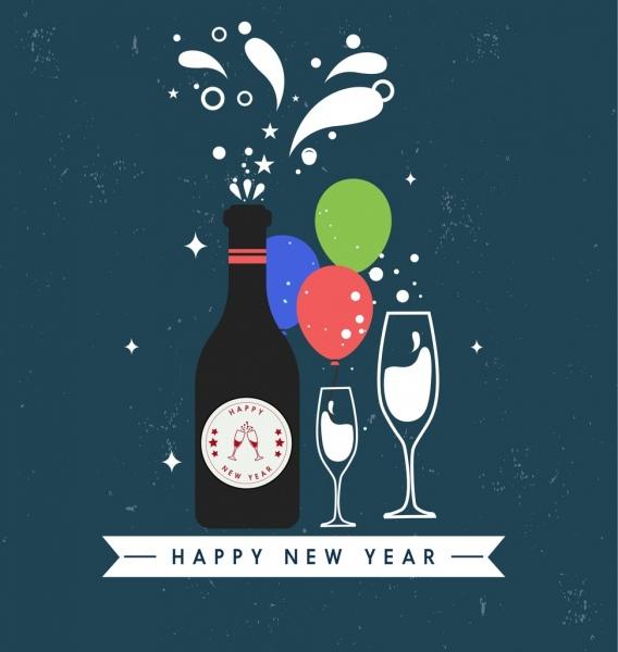 new year background wine bottle glass icons decor