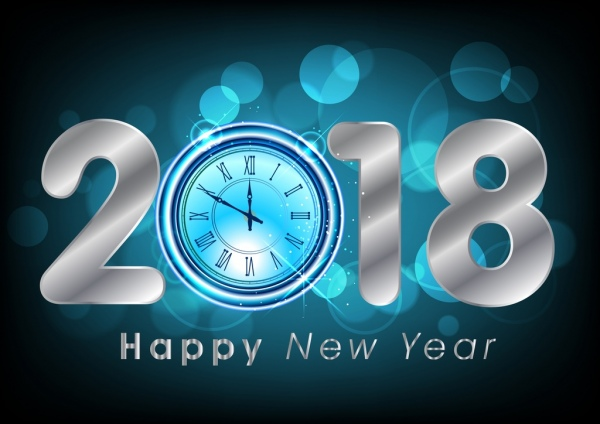 new year banner bokeh blue background clock icon