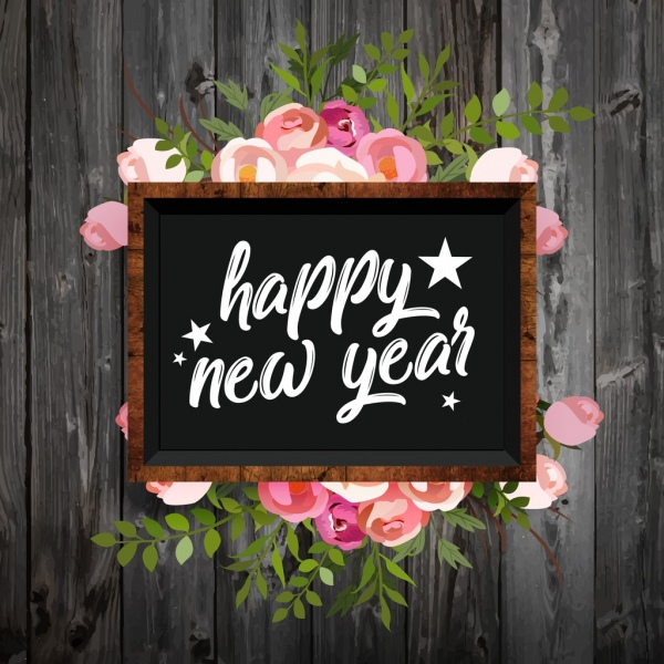 new year banner colorful roses decor blackboard icon