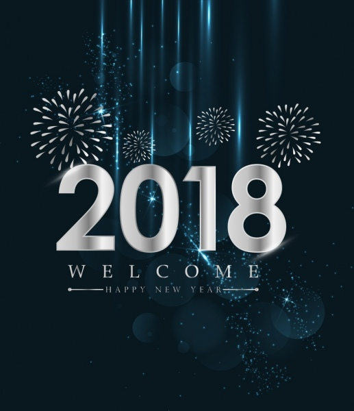 new year banner firework background shiny silver color