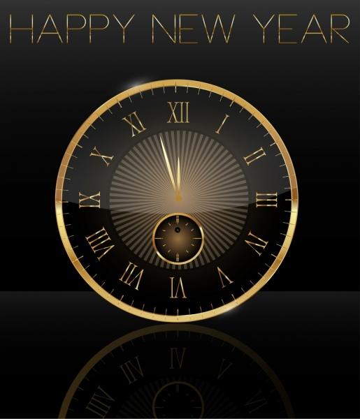 new year banner shiny golden round clock icon