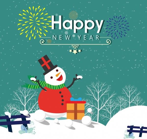 new year banner snowman icon winter fireworks background