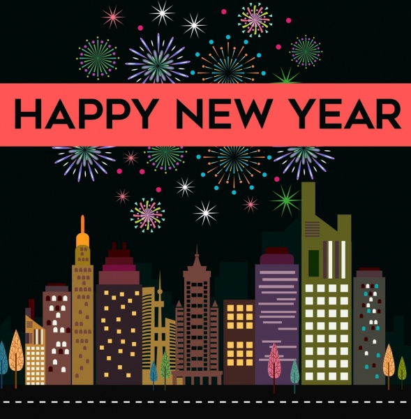 new year banner sparkling fireworks modern city icons