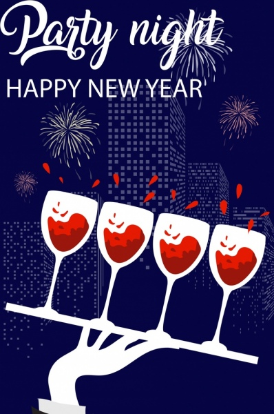 new year banner wineglasses fireworks skyscrapers icons