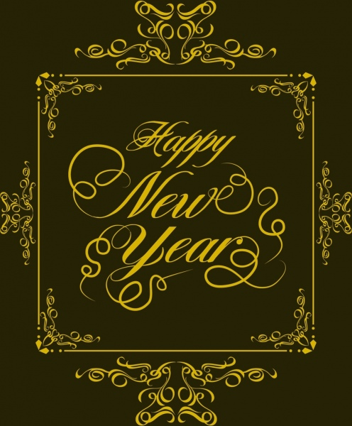 new year banner yellow classical frame decoration calligraphic design