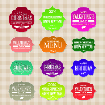 new year christmas and valentine vintage labels vector set