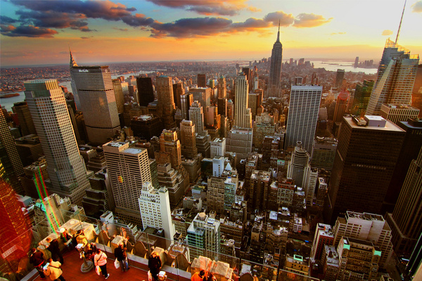 new york sunset hdr