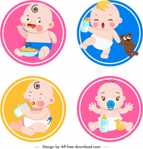 newborn kids icons cute cartoon sketch circles isolation