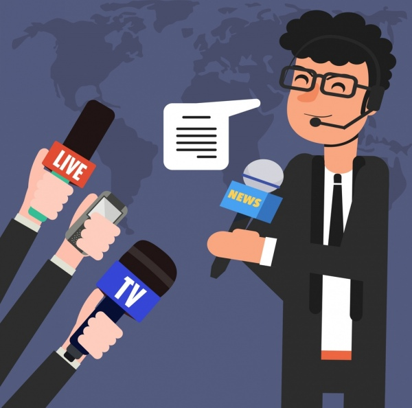 news broadcast background reporter hands microphones icons