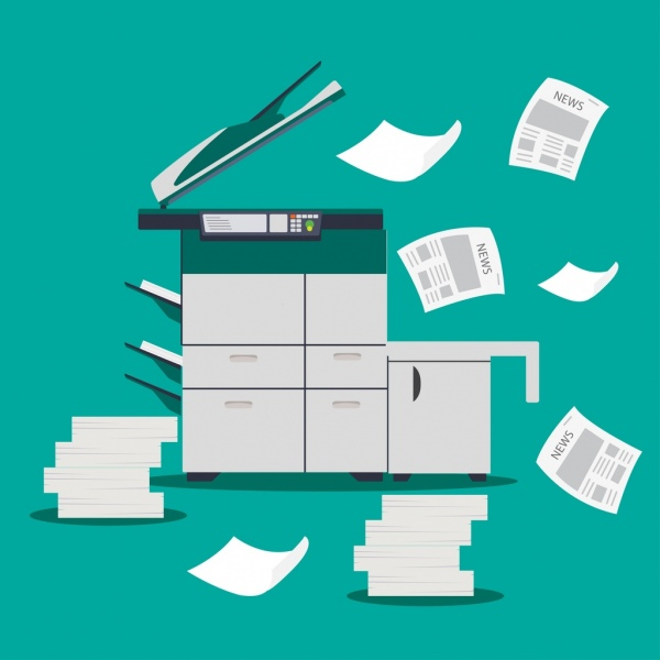 news media background photocopy machine papers icons decor