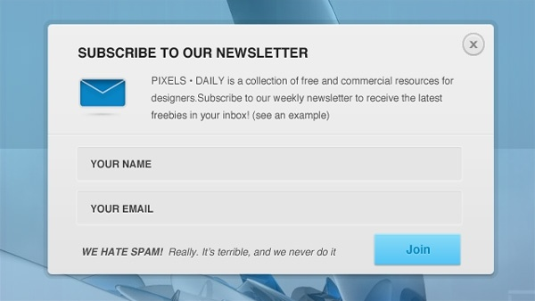 Newsletter Signup Form PSD Free psd in Photoshop psd (  psd