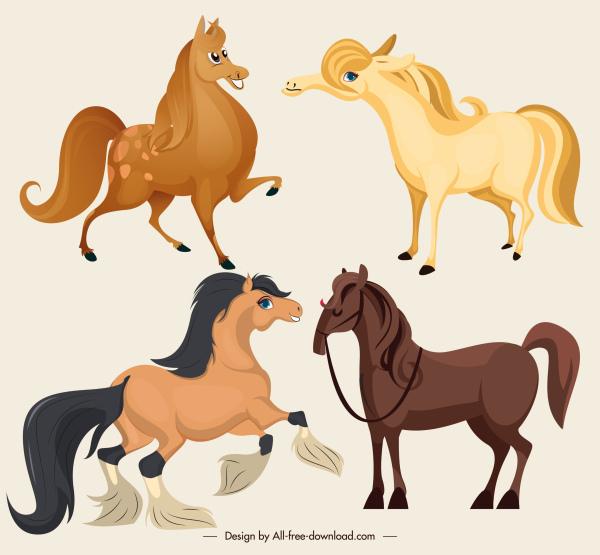 nice horses icons cute cartoon sketch