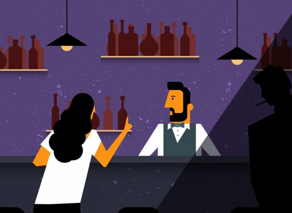 night bar drawing bartender guest icons colored cartoon