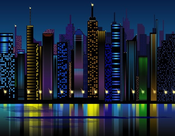 night city background skyscrapers icons colorful reflection decor
