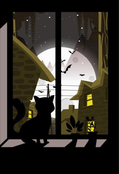 night drawing cat moonlight bats icons dark design