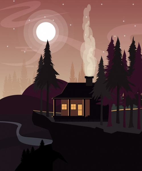 night landscape drawing moonlight house trees icons
