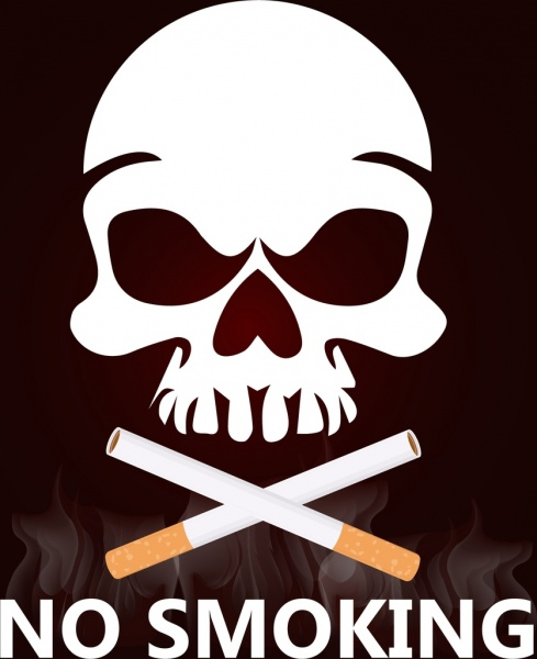 no smoking background cigarettes horror skull icons