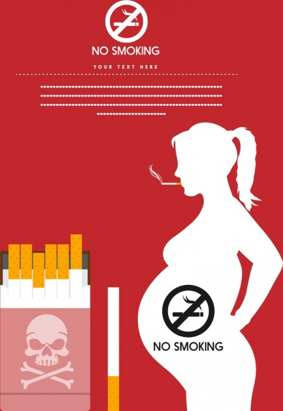 no smoking banner pregnant silhouette tobacco icons