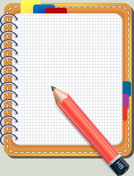 notebook background colored 3d design pencil icon decor