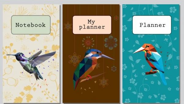 notebook cover templates bird icon polygonal design