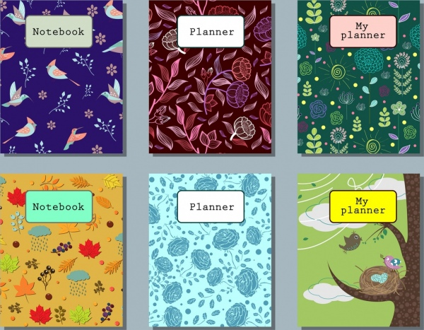 notebook cover templates nature themes colorful decoration