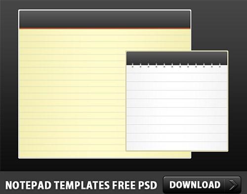 Notepad Templates Free PSD