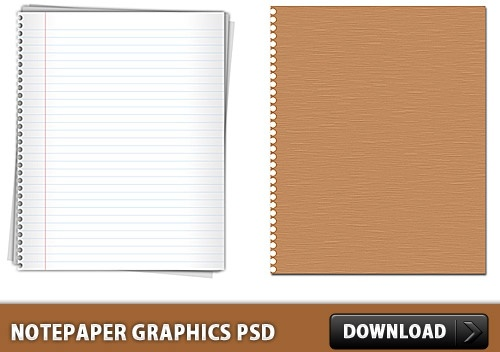 Notepaper Graphics Free PSD file