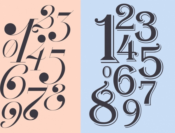 Numbers background italic bold design Free vector in Adobe
